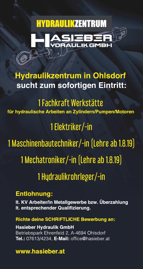 Hydraulikzentrum in Ohlsdorf sucht zum sofortigen Eintritt: 1 Fachkraft Werkstätte für hydraulische Arbeiten an Zylindern/Pumpen/Motoren 1 Elektriker/-in 1 Maschinenbautechniker/-in (Lehre ab 1.8.19)