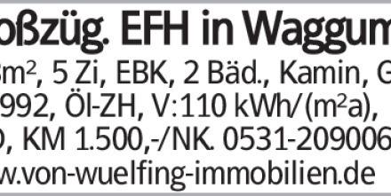 Großzüg. EFH in Waggum 163m², 5 Zi, EBK, 2 Bäd., Kamin, Grg., Bj.1992,...