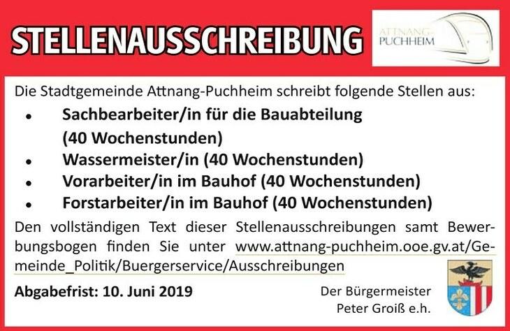 Die Stadtgemeinde Anang-Puchheim schreibt folgende Stellen aus: Sachbearbeiter/in für die Bauabteilung (40 Wochenstunden)