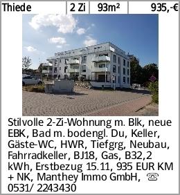 Thiede 2 Zi 93m² 935,-€ Stilvolle 2-Zi-Wohnung m. Blk, neue EBK, Bad m....