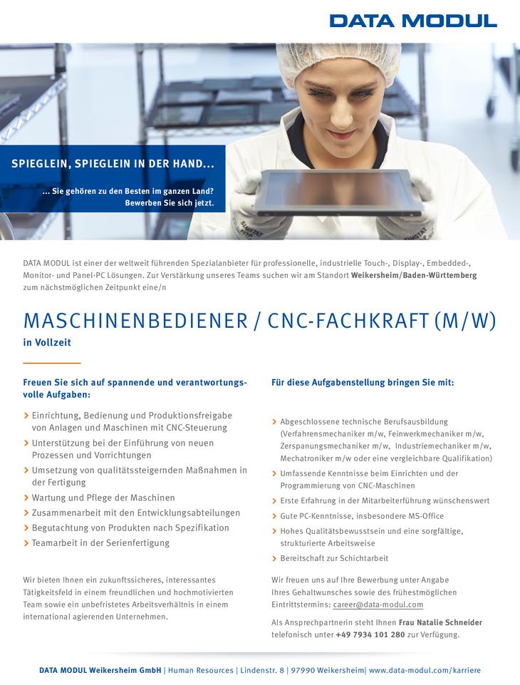 Zur Verstärkung unseres Teams am Standort Weikersheim/Baden-Württemberg suchen wir zum nächstmöglichen Beginn einen Machinenbediener / CNC-Fachkraft (m/w)