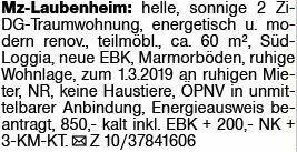 2-Zimmer Mietwohnung in Mainz-Laubenheim (55130)