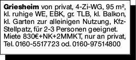 4-Zimmer Mietwohnung in Griesheim (64347)