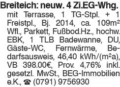 Breiteich: Neuwertige 4 Zimmer EG Wohnung mit Terrasse