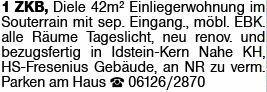 1-Zimmer Mietwohnung in Idstein (65510)