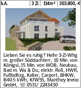 k.A. 3 Zi 114m² 303.800,-€ Lieben Sie es ruhig? Helle 3-Zi-Whg m. großer...