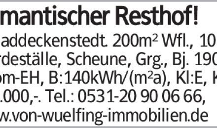 Romantischer Resthof! in Baddeckenstedt. 200m² Wfl., 10 Zi, Pferdeställe,...