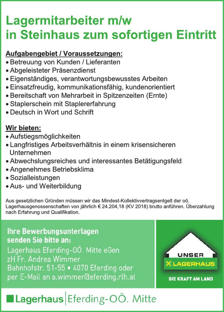 Lagermitarbeiter m/w in Steinhaus zum sofortigen Eintritt