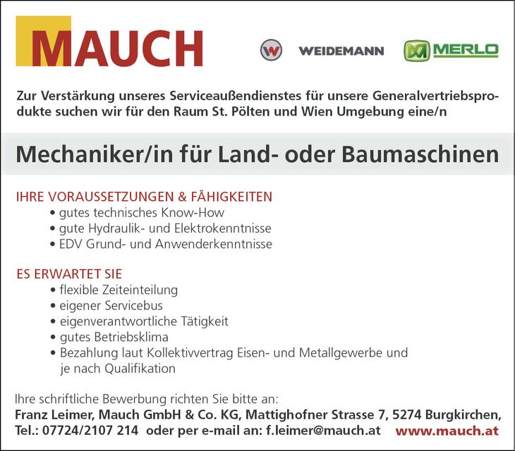 Zur Verstärkung unseres Serviceaußendienstes für unsere Generalvertriebsprodukte suchen wir für den Raum St. Pölten und Wien Umgebung eine/n