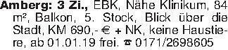 Amberg: 3 Zi., EBK, Nähe Klini...