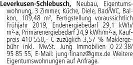 Leverkusen-Schlebusch, Neubau, Eigentumswohnung