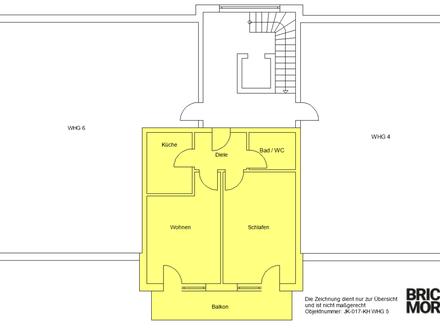 Wohnen im Alter! Sanierte 2-Zimmer-Wohnung gegenüber Tagespflege! 56m²!