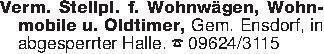 Verm. Stellpl. f. Wohnwägen, W...