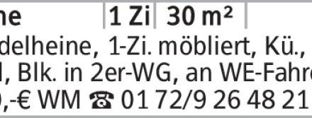 Wedelheine, 1-Zi. möbliert, Kü., Du.-Bad, Blk. in 2er-WG, an WE-Fahrer,...