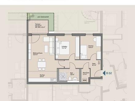 Neubauwohnung - 3 ZKB mit privatem Garten im KfW-55 Standard