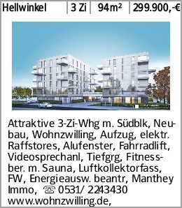 Hellwinkel 3 Zi 94m² 299.900,-€ Attraktive 3-Zi-Whg m. Südblk, Neubau,...