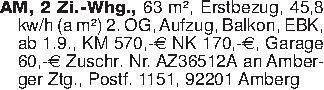 AM, 2 Zi.-Whg., 63 m², Erstbez...