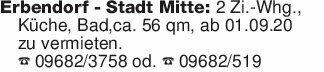 Erbendorf - Stadt Mitte: 2 Zi....