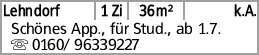 Lehndorf 1 Zi 36m² k.A. Schönes App., für Stud., ab 1.7. s0160/...