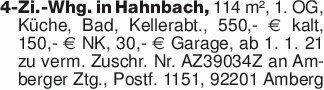 4-Zi.-Whg. in Hahnbach, 114 m²...