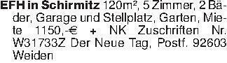 EFH in Schirmitz 120m², 5 Zimm...