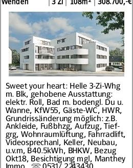 Wenden 3 Zi 108m² 308.700,-€ Sweet your heart: Helle 3-Zi-Whg m. Blk, gehobene...