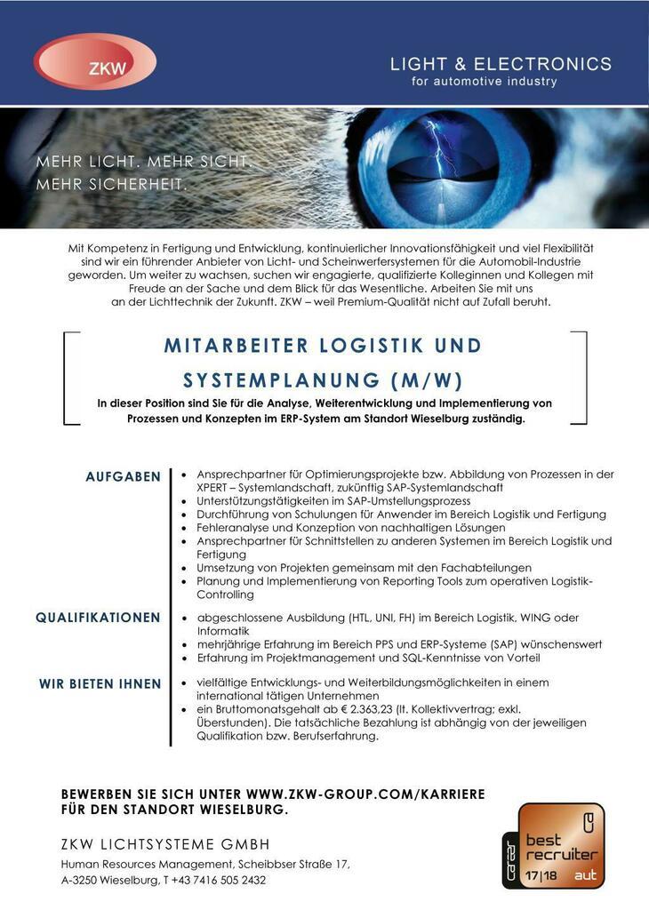 In dieser Position sind Sie für die Analyse, Weiterentwicklung und Implementierung von  Prozessen und Konzepten im ERP-System am Standort Wieselburg zuständig.
