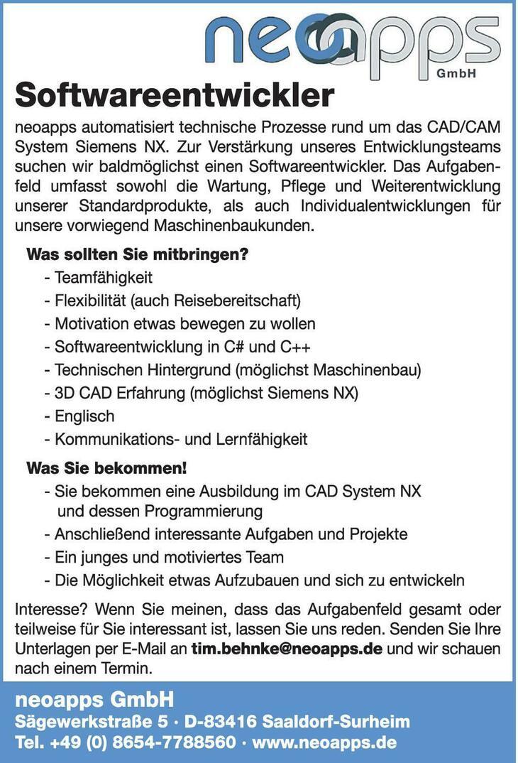 neoapps automatisiert technische Prozesse rund um das CAD/CAM System Siemens NX. Zur Verstärkung unseres Entwicklungsteams suchen wir baldmöglichst einen Softwareentwickler. Das Aufgabenfeld umfasst s