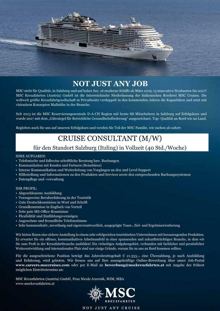 MSC Kreuzfahrten (Austria) ist die Tochter der stark expandierenden Reederei MSC Cruises S.A. Das familiengeführte Unternehmen mit über 40 Jahren Erfahrung in der Seefahrt verfügt über eine Flotte von