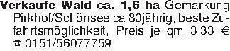 Verkaufe Wald ca. 1,6 ha Gemar...