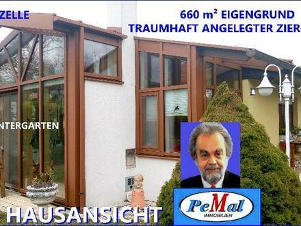 *EXKLUSIVE RARITÄT*ECHTER PREIS-WERTKAUF* 2404 PETRONELL-CARNUNTUM nur 30 km WIENGRENZE (über A4) TRAUMHAFTES bungalowart. Haus mit TRAUM-ZIERGARTEN 660m² EIGENGRUND (ECKPARZELLE) WNFL.: 85m² (2Zi+Winterg.+NR) NEU-TOPZUSTAND HBJ 1983/Zubau 2005, HWSF