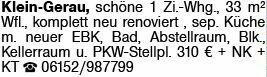 1-Zimmer Mietwohnung in Klein-Gerau (64572)