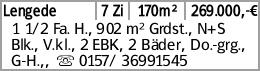 Lengede 7 Zi 170m² 269.000,-€ 1 1/2 Fa. H., 902 m² Grdst., N+S Blk., V.kl.,...