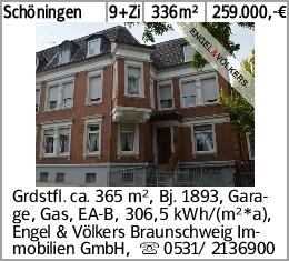 Schöningen 9+Zi 336m² 259.000,-€ Grdstfl. ca. 365 m², Bj. 1893, Garage,...