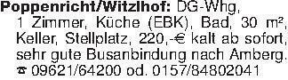 Poppenricht/Witzlhof: DG-Whg,...