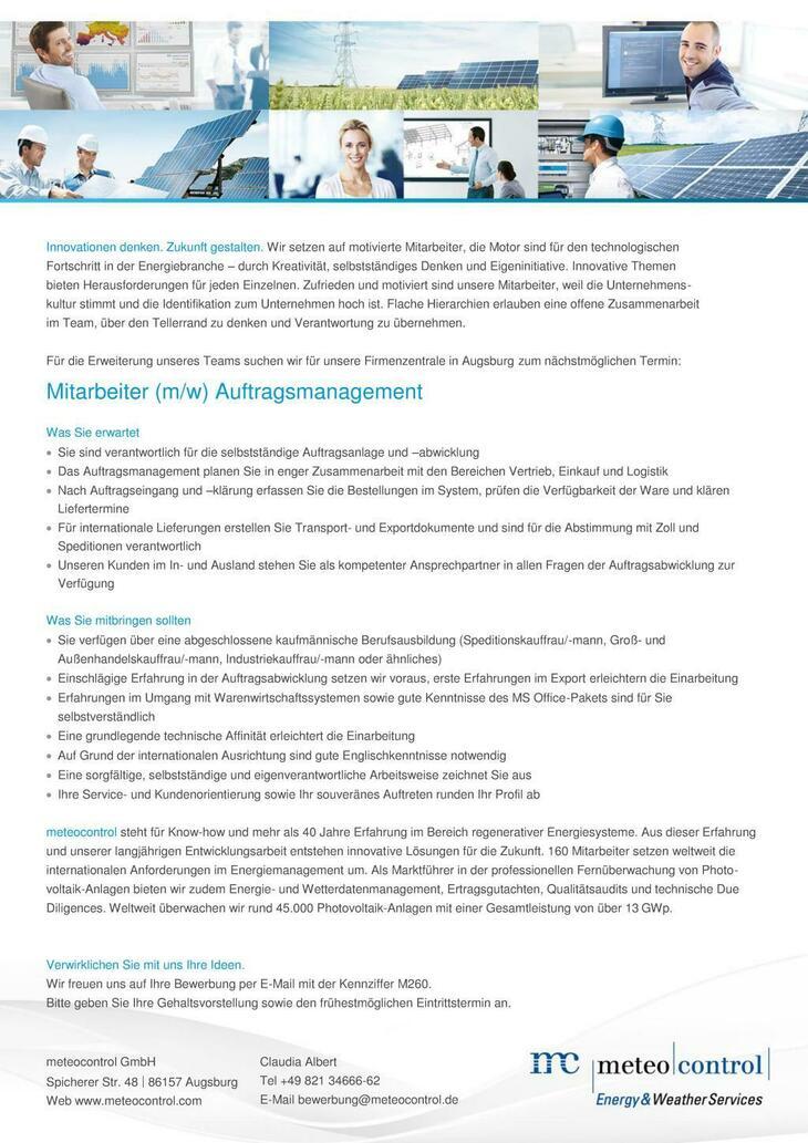 Die meteocontrol GmbH bietet seit mehr als 40 Jahren innovative Produkte und Dienstleistungen im Bereich der erneuerbaren Energien. Deine Zukunft beginnt hier...