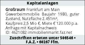 Kapitalanlage Gewerbeimmobilie Großraum Frankfurt am Main
