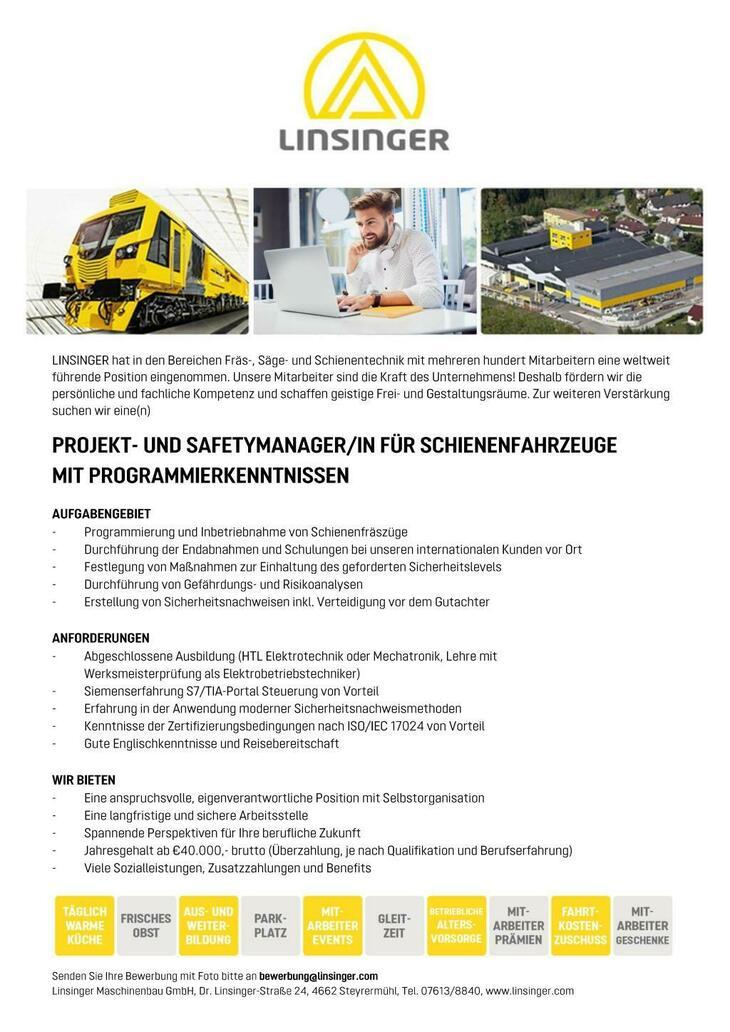 -Programmierung und Inbetriebnahme von Schienenfräszüge -Durchführung der Endabnahmen und Schulungen bei unseren internationalen Kunden vor Ort - Festlegung von Maßnahmen zur Einhaltung des geforde