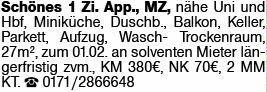 1-Zimmer Mietwohnung in Mainz-Hartenberg/Münchfeld (55122)