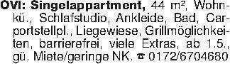 OVI: Singelappartment, 44 m²,...