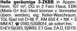 Helle geräumige 3-ZKBB in Appenheim