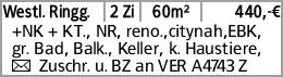 Westl. Ringg. 2 Zi 60m² 440,-€ +NK + KT., NR, reno.,citynah,EBK, gr. Bad,...