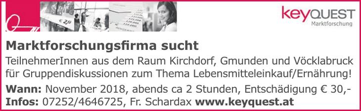 Marktforschungsfirma sucht TeilnehmerInnen aus dem Raum Kirchdorf, Gmunden und Vöcklabruck für Gruppendiskussionen zum Thema Lebensmitteleinkauf/Ernährung!