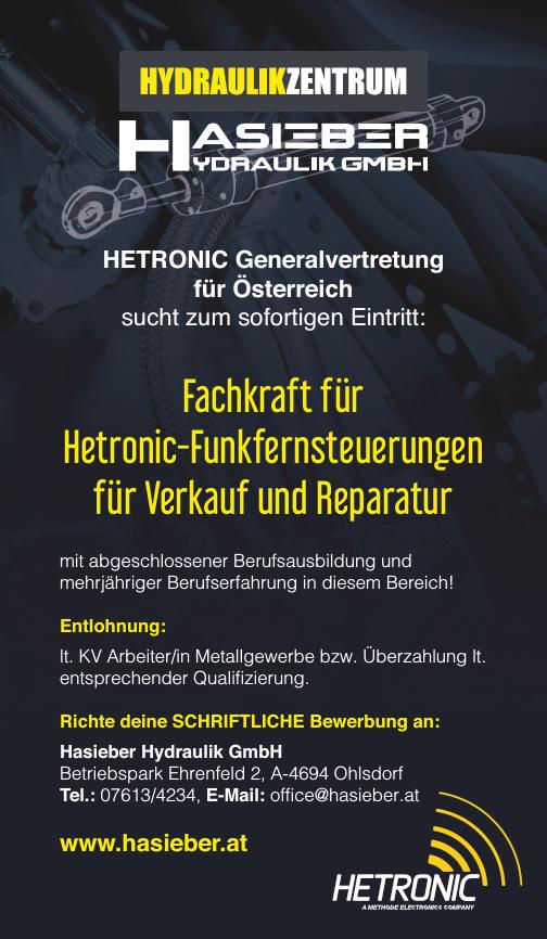 HETRONIC Generalvertretung für Österreich sucht zum sofortigen Eintritt: Fachkraft für Hetronic-Funkfernsteuerungen für Verkauf und Reparatur mit abgeschlossener Berufsausbildung und mehrjähriger Beru