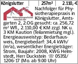 Königslutter 257m² 2.110,-€ Nachfolger für Physiotherapiepraxis in Königslutter,...