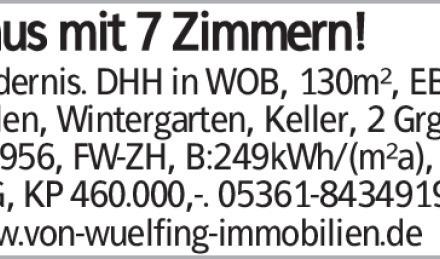 Haus mit 7 Zimmern! Modernis. DHH in WOB, 130m², EBK, Dielen, Wintergarten,...
