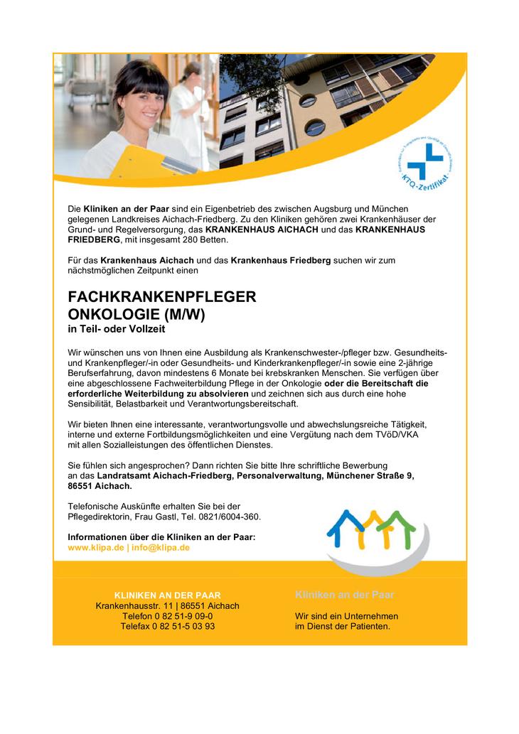 Die Kliniken an der Paar sind ein Eigenbetrieb des zwischen Augsburg und München gelegenen Landkreises Aichach-Friedberg. Zu den Kliniken gehören zwei Krankenhäuser der Grund- und Regelversorgung, das