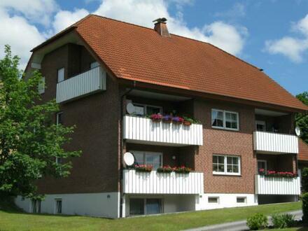 Dreizimmerwohnung mit Balkon und Blick ins Grüne.