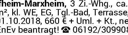 Hofheim-Marxheim, 3 Zi.-W ab 01.10.2018