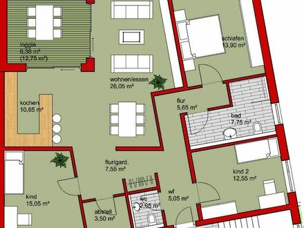 4,5 Zi.-Wohnung im 1. OG mit Aufzug in Bonfeld